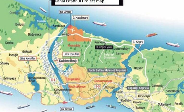 Canal Istanbul Project on Istanbul Map